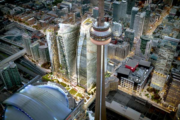 Union Park will feature office towers of 58 and 48 storeys and rental residential towers of 44 and 54 storeys.