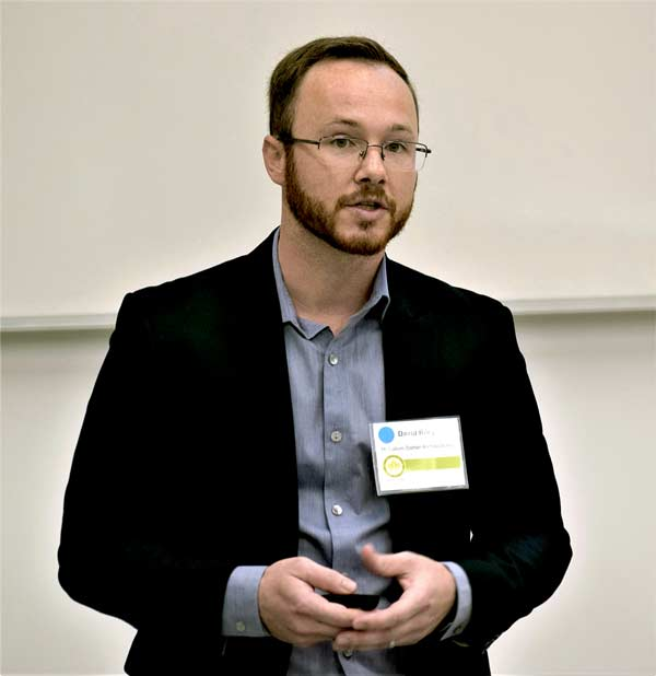 David Riley, senior mechanical engineer at McCallumSather, discussed a retrofit project on the University of Guelph campus at a recent Greater Toronto Chapter of the Canada Green Building Council summit.