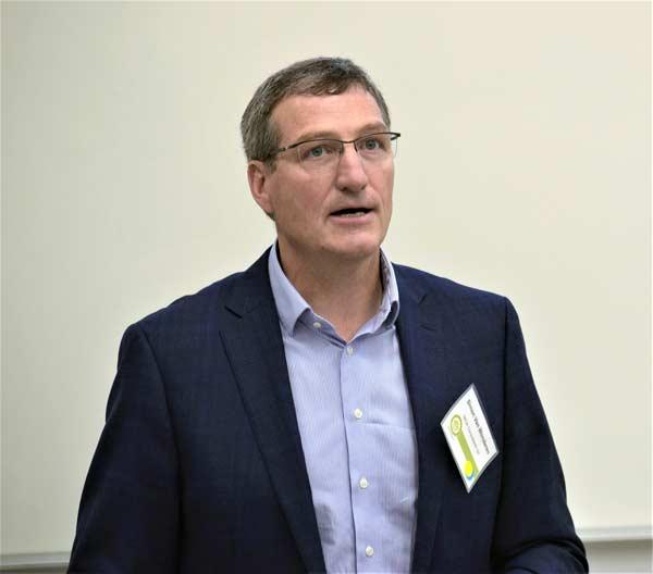 Simon van Wonderen of MCW Custom Energy Solutions described projects undertaken through the University of Guelph's Green Gryphon Initiative at a recent Hamilton green building forum.