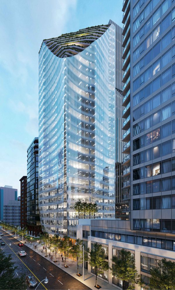 1166 Pender will have an unusual shape near its base to minimize shadow casting and allow for more pedestrian traffic.