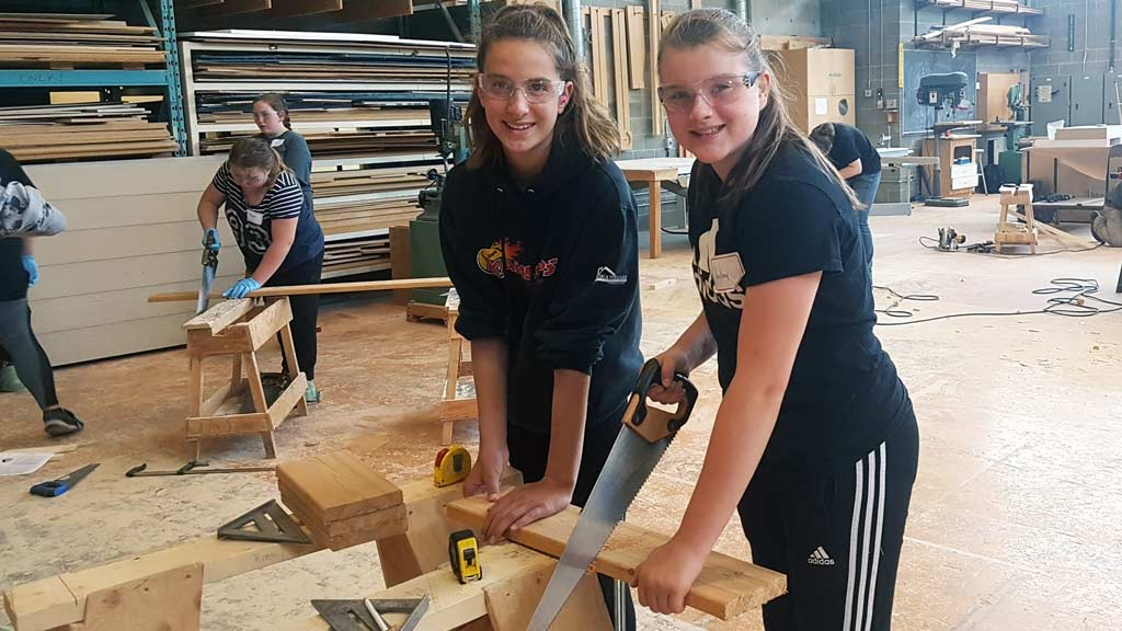 The camp teaches girls age 9-12 how to use basic carpentry tools and introduces them into the world of trades.