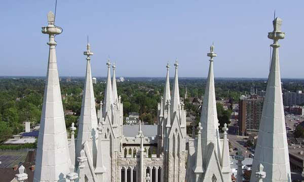 A drone's view of the roof of the Basilica of Our Lady Immaculate in Guelph, Ont.