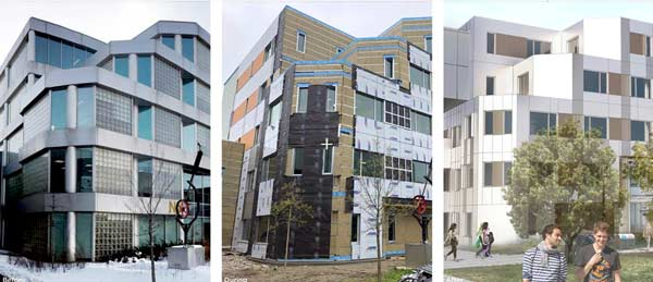 This image illustrates how this Humber College building changed during the Humber College NX project, capturing the stages (from left) of before, during and after of the retrofit. The building was successfully retrofitted to Passive House certification standards.