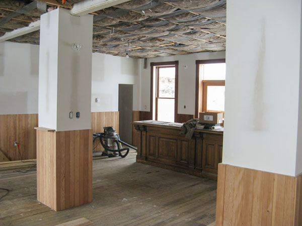 Renovations are still currently underway at the hotel. The 1910 structure needed a new foundation and construction of a basement. When completed, the hotel will feature 11 rooms, its saloon opened in August.