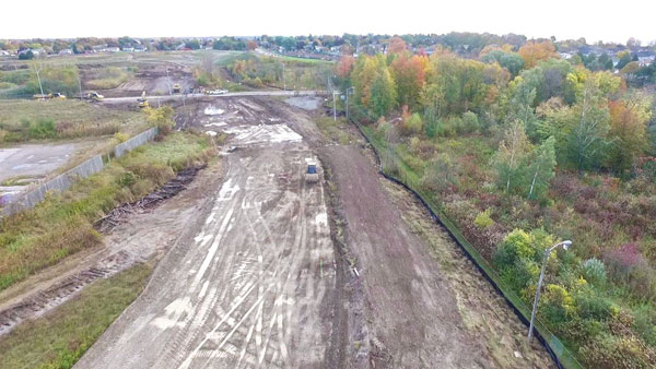 A view of work on the test track being built on 55 acres of property in Oshawa.