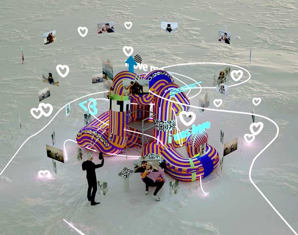 Noodle Feed, by iheartblob, is one of the winning submissions of this year's Winter Stations Design Competition. The installation creates a shared augmented reality environment where people can interact in new ways and has an augmented reality app which lets visitors leave digital traces of their time at the installation.