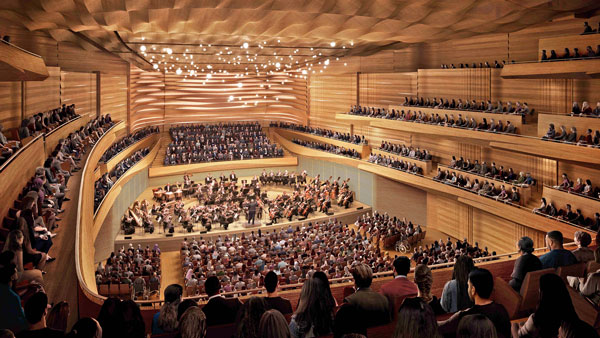 Prefabrication will be key to reducing the construction schedule on the David Geffen Hall renovation. The balconies, walls and ceilings will be built off-site and then installed.