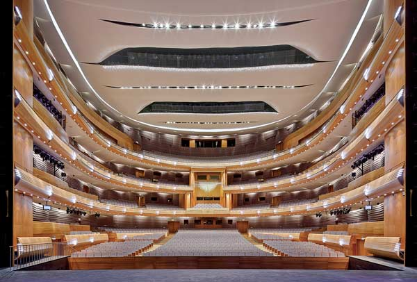 Jack Diamond of Diamond Schmitt explained that for best sound transmission at an opera hall like the New Mariinsky Theatre it's best that capacity be kept to about 2,000 people — otherwise the sound erodes.