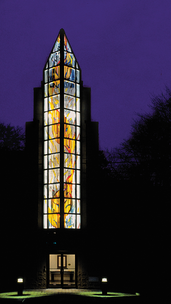 The 50-foot-tall glass project Radiance, Reflection, Revelation by Sarah Hall is featured at the First Unitarian Congregation of Toronto.