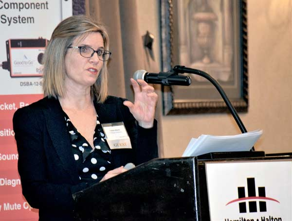 McMaster University's assistant vice-president and chief facilities officer Debbie Martin presented the school's plans for near-term capital projects at the Hamilton-Halton Construction Association's 2020 Forecast event held in Hamilton Jan. 23.