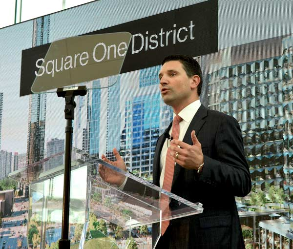Oxford Properties executive vice-president Eric Plesman revealed details of the new Square One District community to a large crowd of stakeholders, guests and media assembled at Square One Shopping Centre in Mississauga Jan. 21.