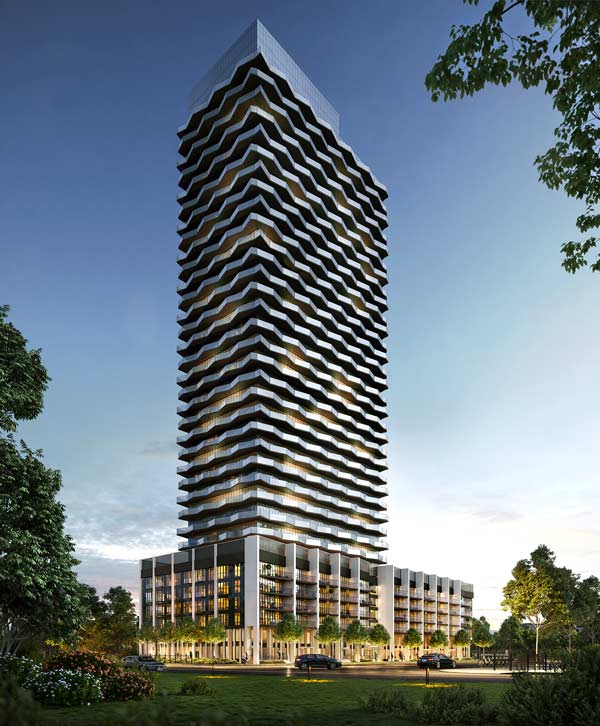 The 35-storey Thirty-Six Zorra condo project from Altree Developments broke ground in Toronto on Feb. 19.