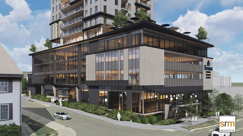 SkyDev president  Greg Jones says while the rendering, pictured above, shows a four-storey office podium, the current permission allows for between three and six storeys.