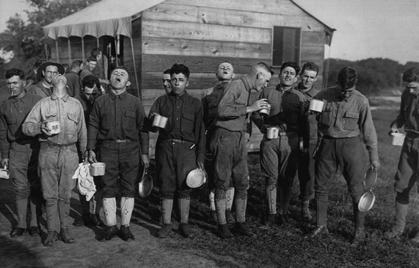 Soldiers gargle with salt and water to prevent influenza on Sept. 24, 1918 in Camp Dix, N.J. during the 1918-19 'Spanish' Influenza pandemic.