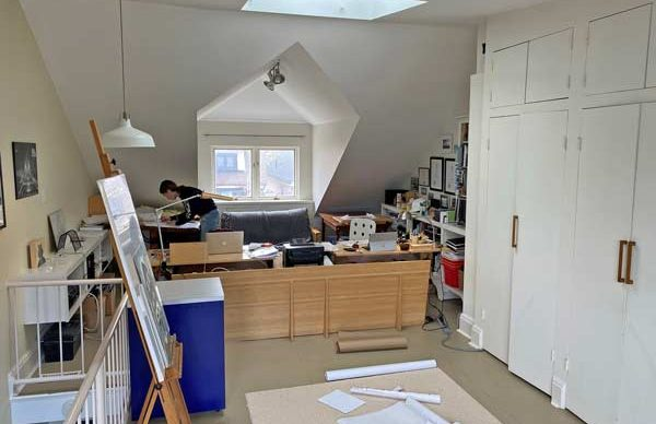 Marco VanderMaas' wife Heather, who is also an architect, has found her place in the attic space of their home where they both work.