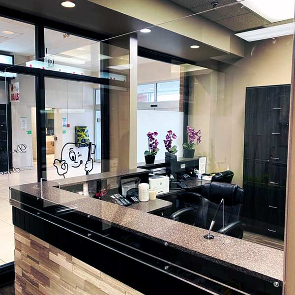 Pictured here is a plexiglass sneeze guard installed by IPS Metal Inc. at the dental office of Dr. Robert Wardrope in Hamilton, Ont. IPS began creating and installing these guards after the COVID-19 pandemic impacted the demand for their usual sheet metal products and services.