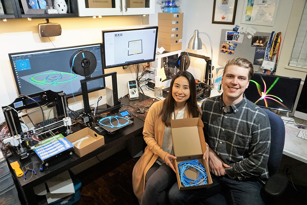 Keisha Go (left) and Jamie Haakons (right) are using 3D printing technology to create masks for frontline workers in Vancouver during the COVID-19 pandemic.