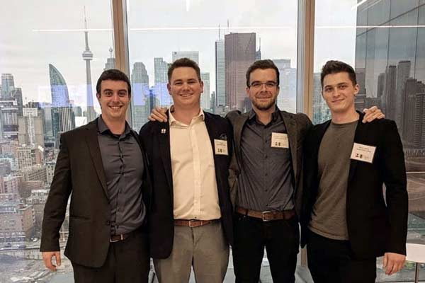 The DGC Toronto team comprised of Jonathan Isenegger, Philip Jager, Kristopher Turnbull-Poulin and Maxim Sokolicz, part of the Angelo DelZotto School of Construction Management at GBC, has qualified and will be competing in the Chartered Institute of Building Global Student Challenge finals. The finals were supposed to be held in Australia but because of the COVID-19 emergency, students will compete remotely.