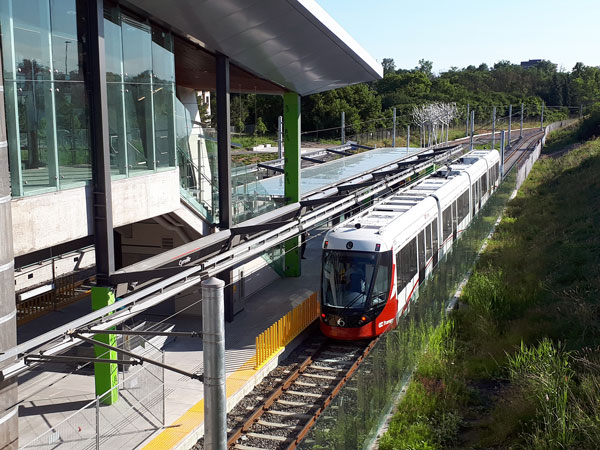 A University of Toronto study compared greenhouse gas emissions from the construction of at-grade rail versus underground building. Pictured: train testing at Ottawa's Cyrville Station, July 2018.