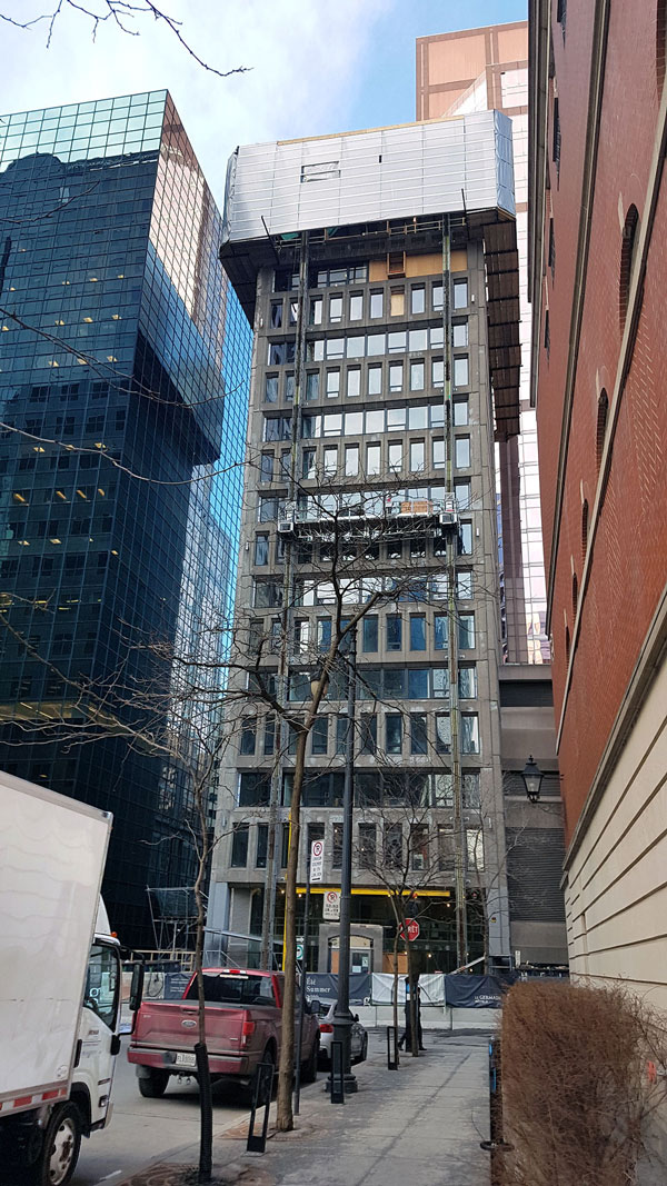 Upbrella Construction of Brossard, Que. employed its patented craneless system which used elevator-style lifting actuators to raise one floor at a time over the Hotel Le Germain in Montreal. The owners of the 11-storey boutique hotel were looking to top the building with six floors.