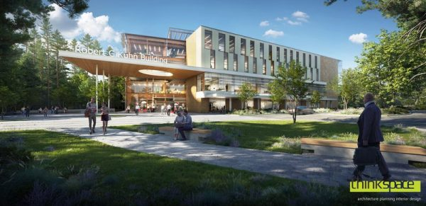 A rendering shows Trinity Western University's Robert G. Kuhn School of Business, which will be a four-storey structure featuring natural heavy timber columns and beams along with steel deck and concrete slabs. The project is being constructed by Clark Builders. The company recently went digital, using QR codes for workers to scan in order to fill out health and safety questionnaires.