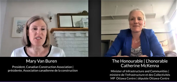 """Federal Minister of Infrastructure and Communities Catherine McKenna (right) responded to questions posed by Canadian Construction Association (CCA) president Mary Van Buren during the CCA's day-long """"Un-Conference"""" June 15."""