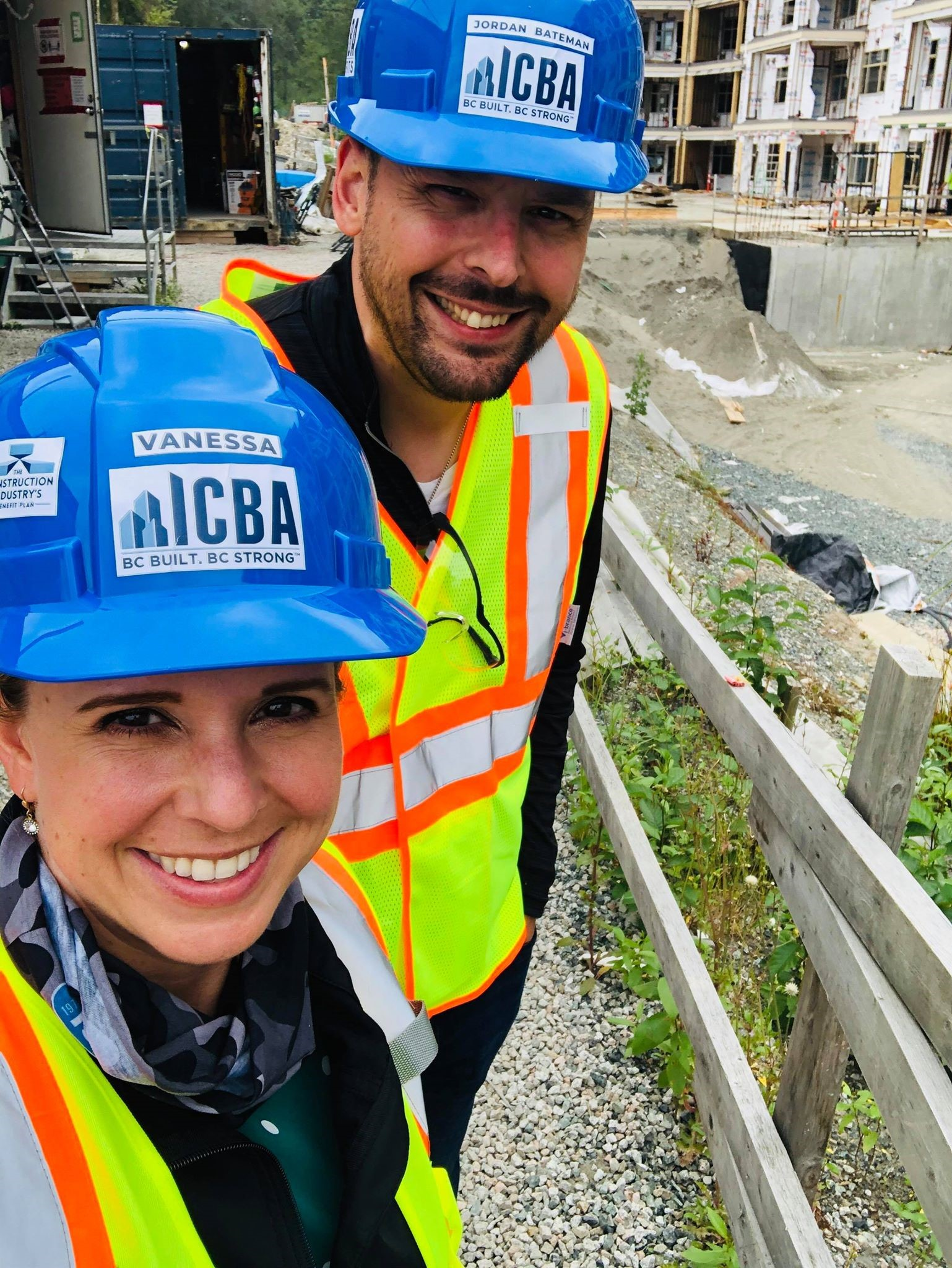 Jordan Bateman, Independent Contractors and Businesses Association communications and marketing vice-president, and Vanessa Neil, the association's membership services co-ordinator, visit Peak Construction's Yorkson condo and townhome project in Langley, B.C.