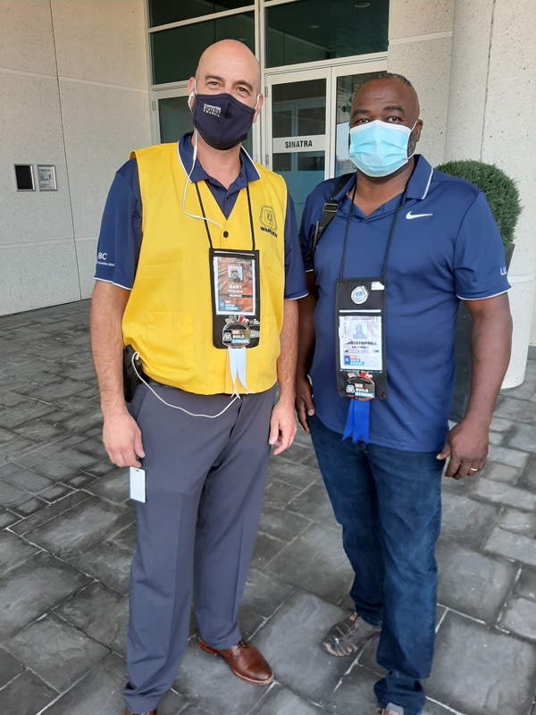 Pictured are Warden Gary Realjo with Carpenters' Union Local 27 delegate Chris Campbell (right). They were attendees of the recent International United Brotherhood of Carpenters convention, which is normally held in Las Vegas, but this year was held virtually with 2,000 guests in attendance.