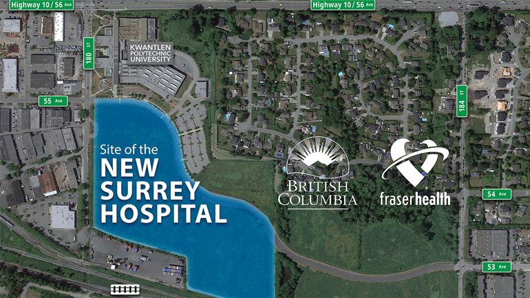 A rendering shows the site of Surrey, B.C.'s second hospital. Officials announced that the facility will include a regional cancer centre.