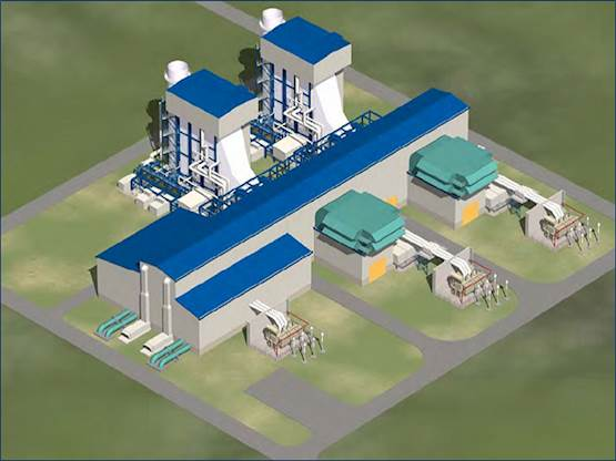 A rendering shows a 900-megawatt, low-carbon natural gas combined cycle generating facility that PCL and Black & Veatch have been tasked with building in Edson, Alta.