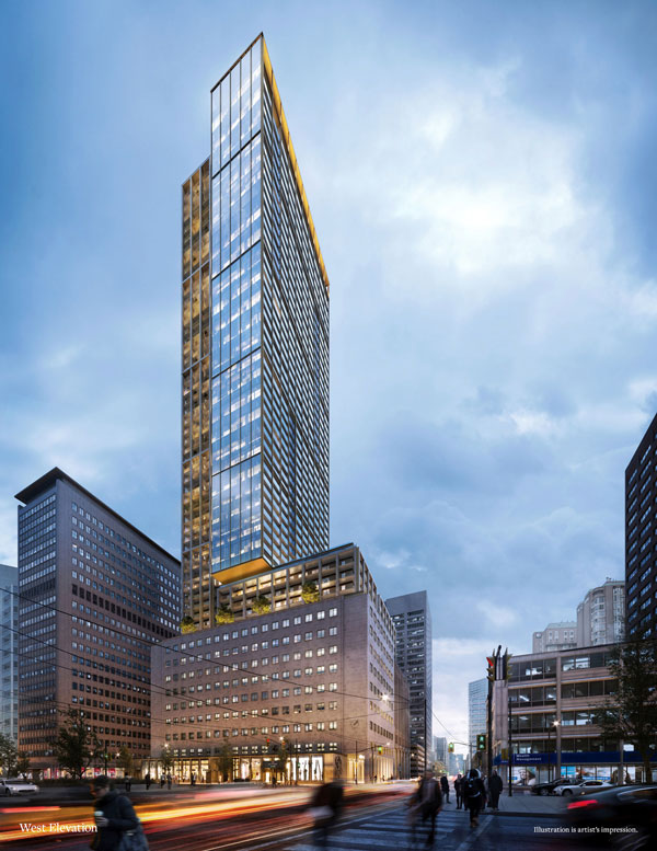 The new 55-storey mixed-use United Building from Davpart will incorporate restored components of the Maclean-Hunter Building on University Avenue in Toronto with commercial and retail space from the ground floor to the 10th floor and new residences above the heritage structure.