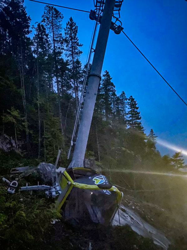 Photos from Squamish RCMP show the damage done to the Sea to Sky Gondola after it was purposefully damaged. It is the second time in two years the steel cable for the attraction has been severed.