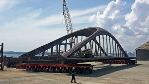 Big steel bridges now floating towards Toronto's waterfront