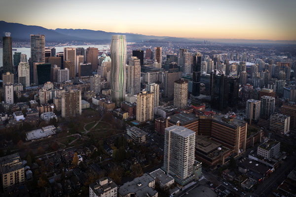 The Passive House skyscraper in Vancouver will be 586 feet tall, slightly higher than a nearby tower developed by Westbank called The Butterfly. It will have 102 social housing units, 50 market rental units and 328 market condo units.