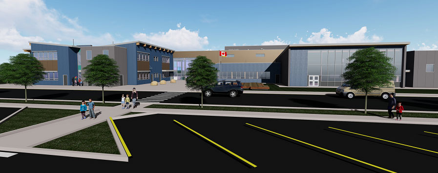 A rendering shows the design for Anne Roberts Young Elementary in Fort St. John, B.C. The school has opened ahead of schedule in time for students to return after the summer for classes.